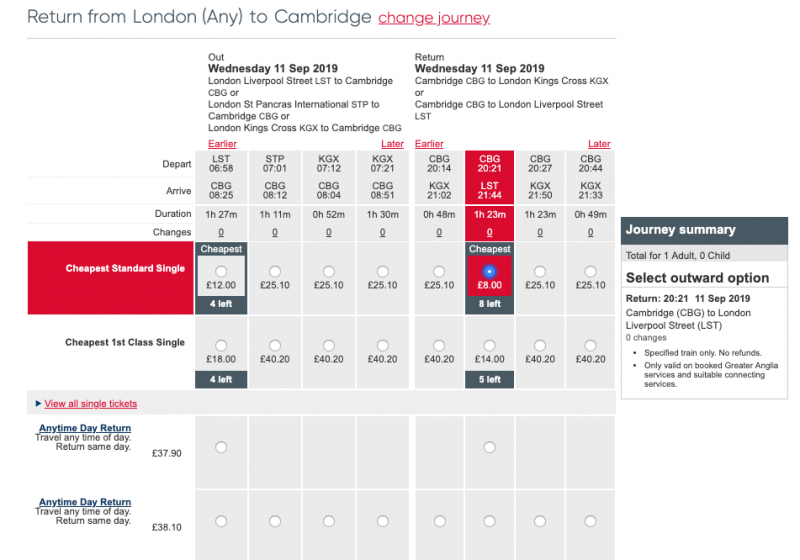 London Cambridge Train Schedule