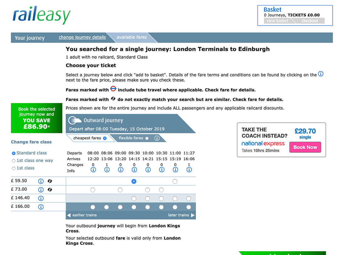 Raileasy UK London to Edinburgh