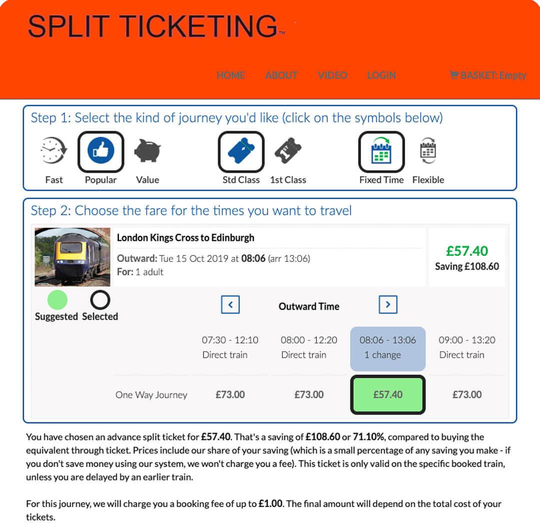 Split My Fare train ticket website