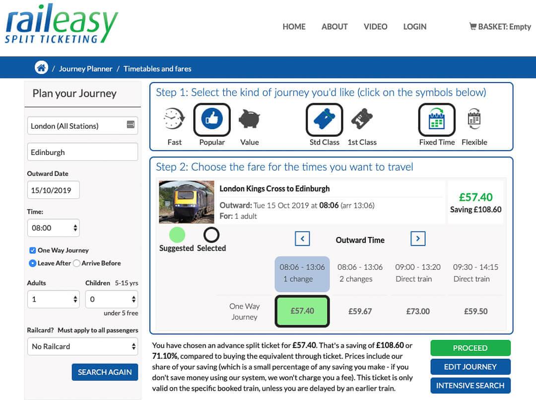 RailEasy train ticket website