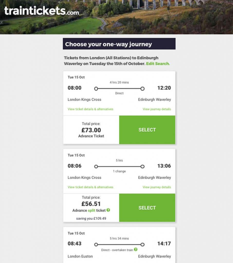 Traintickets.com split tickets